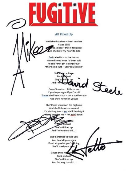 Signed Lyric Sheet
